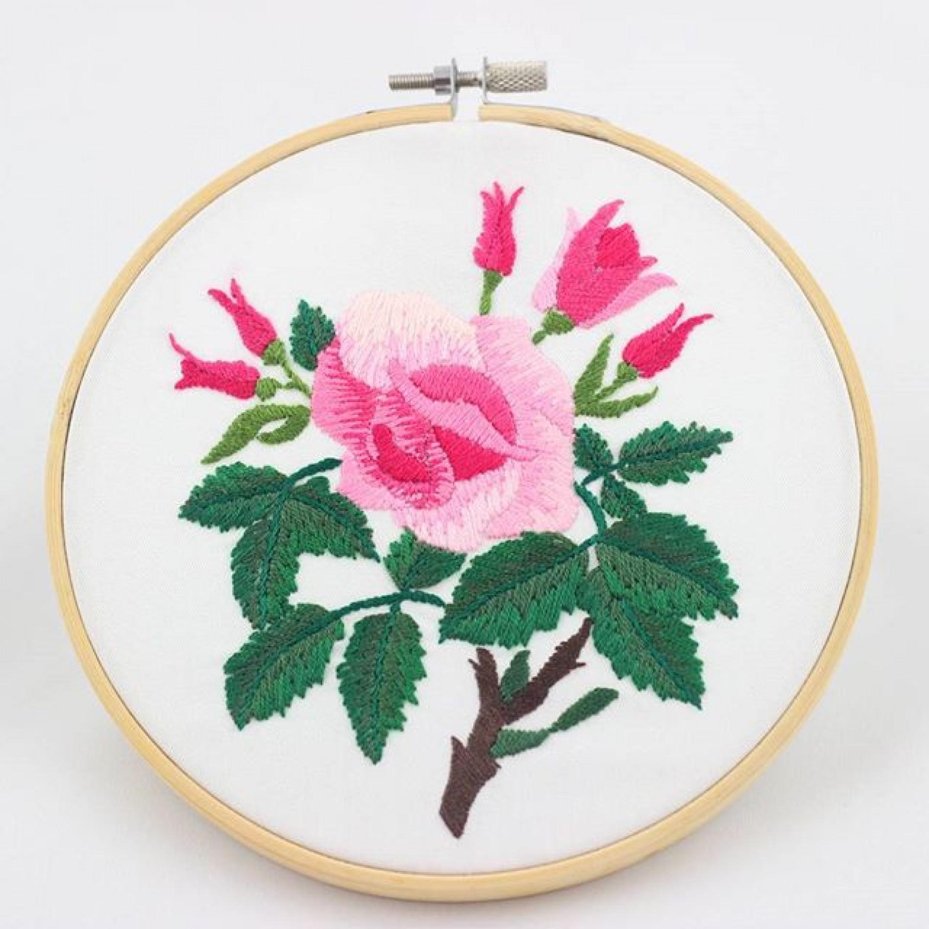 haftowany obraz z różą