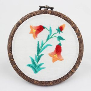 haftowany obrazek pomarańczowe kwiaty