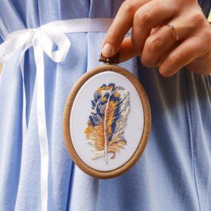 haftowany obrazek pióro Needle Twiddle